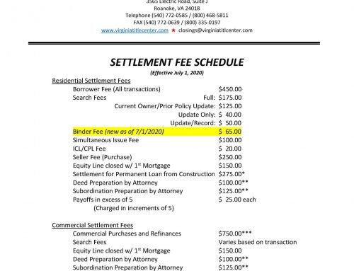 Binder Fee Adjustment Effective July 1, 2020